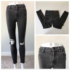 Madewell Grey Distressed High Riser Skinny Jeans
